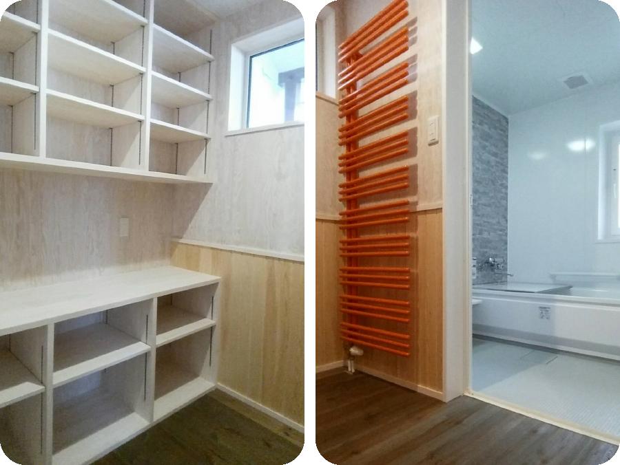 北欧型健康住宅 コーラリー 秋田市モデルハウス ユニットバス&広い脱衣室